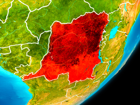 Map of Democratic Republic of Congo in red as seen from space on planet Earth with white borderlines. 3D illustration. Stock Photo