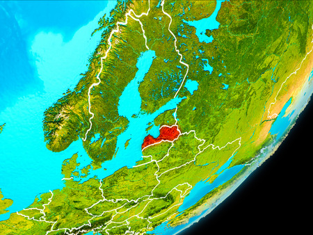 Map of Latvia in red as seen from space on planet Earth with white borderlines. 3D illustration.