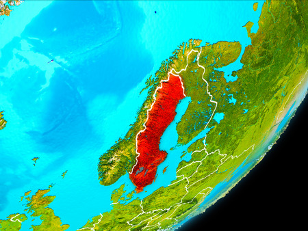 Map of Sweden in red as seen from space on planet Earth with white borderlines. 3D illustration. Stock Photo