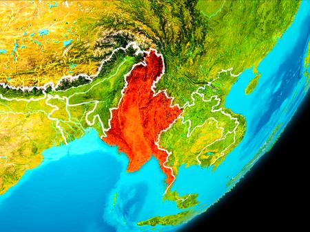 赤白の境界線と地球に宇宙から見たミャンマーの地図。3 D イラスト。
