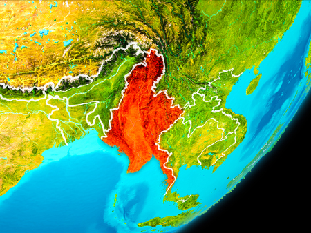 Map of Myanmar in red as seen from space on planet Earth with white borderlines. 3D illustration.