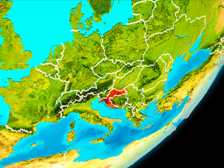 Map of Croatia in red as seen from space on planet Earth with white borderlines. 3D illustration.