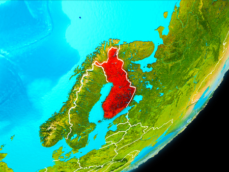 Map of Finland in red as seen from space on planet Earth with white borderlines. 3D illustration.