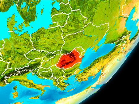 Map of Romania in red as seen from space on planet Earth with white borderlines. 3D illustration.