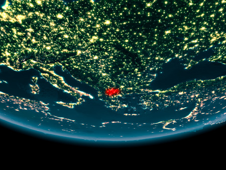 Macedonia at night highlighted in red on planet Earth. 3D illustration. Stock Photo