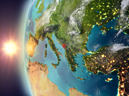 Montenegro as seen from space on planet Earth during sunset. 3D illustration. Stock Photo