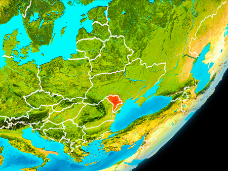 Map of Moldova in red as seen from space on planet Earth with white borderlines. 3D illustration. Stock Photo