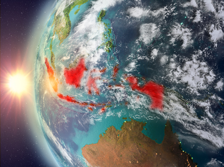 Indonesia as seen from space on planet Earth during sunset. 3D illustration.