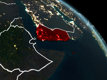 Yemen from orbit of planet Earth at night with visible borderlines and city lights. 3D illustration. Stock Photo