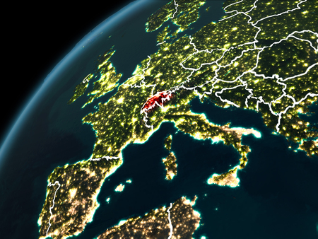Switzerland in red on planet Earth at night with visible borderlines and city lights. 3D illustration.