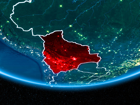 Bolivia in red with visible country borders and city lights from space at night. 3D illustration Stock Photo