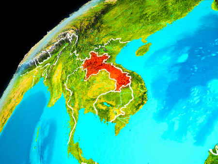 Orbit view of Laos highlighted in red with visible borderlines on planet Earth. 3D illustration. Stock Photo