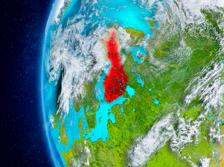 Map of Finland as seen from space on planet Earth with clouds and atmosphere. 3D illustration.