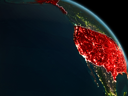 USA from orbit of planet Earth at night with visible borderlines and city lights. 3D illustration.