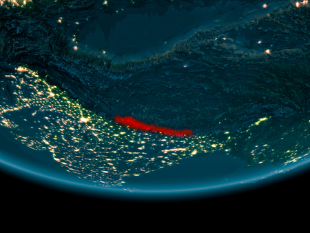 Nepal at night highlighted in red on planet Earth. 3D illustration. Stock Photo