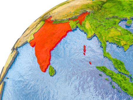India on simple globe with visible country borders and realistic water in the oceans. 3D illustration.