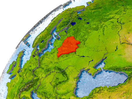 Belarus on simple globe with visible country borders and realistic water in the oceans. 3D illustration.