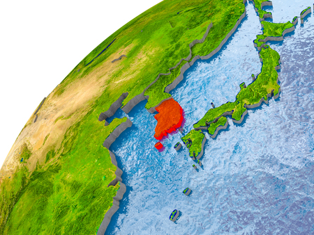 South Korea on simple globe with visible country borders and realistic water in the oceans. 3D illustration. Stock Photo