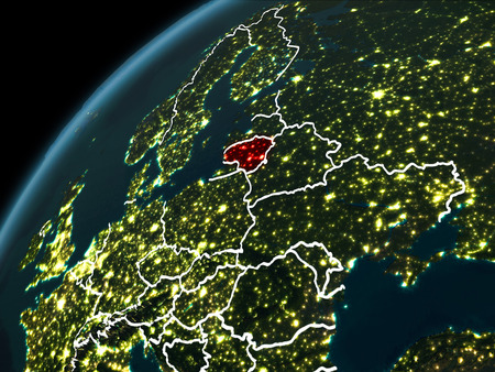 Lithuania in red on planet Earth at night with visible borderlines and city lights. 3D illustration.