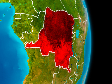 Democratic Republic of Congo in red on planet Earth with visible borderlines. 3D illustration.