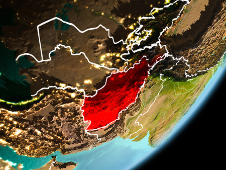 Afghanistan in early morning light highlighted in red on planet Earth with visible border lines and city lights. 3D illustration.
