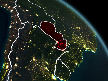 Paraguay from orbit of planet Earth at night with visible borderlines and city lights. 3D illustration.
