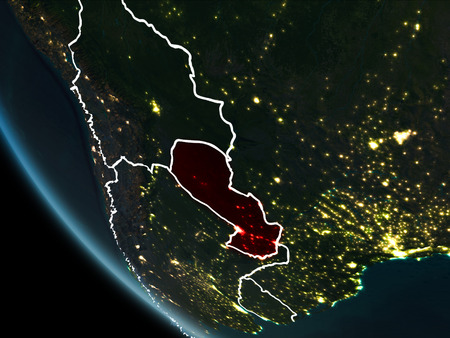 Satellite view of Paraguay highlighted in red on planet Earth at night with borderlines and city lights. 3D illustration. Stock Photo