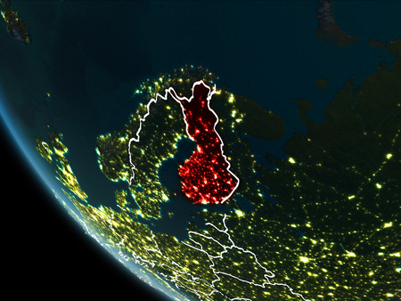 Satellite view of Finland highlighted in red on planet Earth at night with borderlines and city lights. 3D illustration. Stock Photo