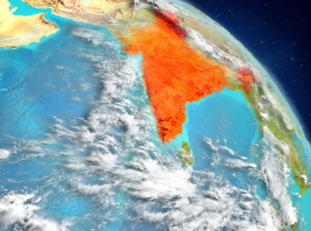 Illustration of India as seen from Earth's orbit. 3D illustration.