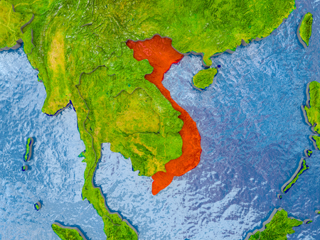 Vietnam in red on realistic map with embossed countries. 3D illustration.