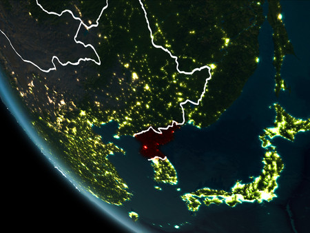 North korea as seen from earths orbit on planet earth at night satellite view of north korea highlighted in red on planet earth at night with borderlines and gumiabroncs Choice Image