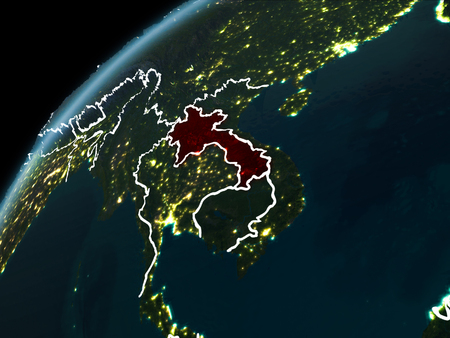 Laos in red on planet Earth at night with visible borderlines and city lights. 3D illustration. Stock Photo