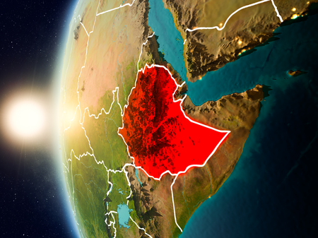 Illustration of Ethiopia as seen from Earth's orbit during sunset with visible country borders. 3D illustration.