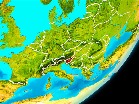 Map of Slovenia in red as seen from space on planet Earth with white borderlines. 3D illustration. Stock Illustration - 93220557
