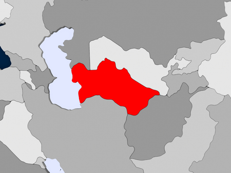 Turkmenistan in red on political map with transparent oceans. 3D illustration.
