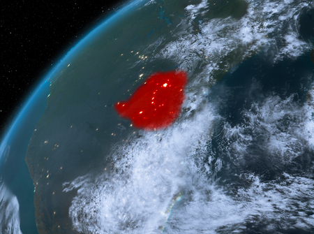 Illustration of Zimbabwe as seen from Earth's orbit at night. 3D illustration. Stock Photo