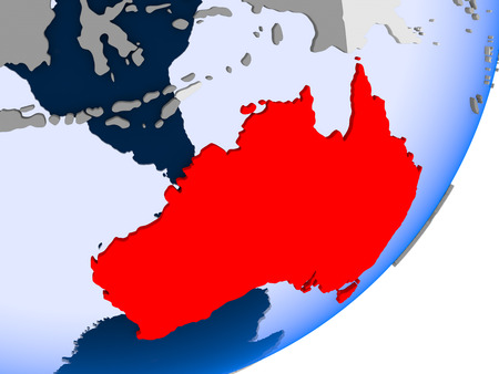 3D render of Australia on political globe with transparent oceans. 3D illustration. Stock Photo