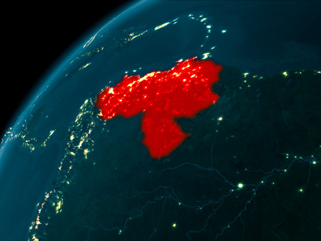 Night map of Venezuela as seen from space on planet Earth. 3D illustration.