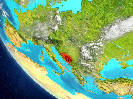 Bosnia and Herzegovina from orbit of planet Earth with highly detailed surface textures. 3D illustration.
