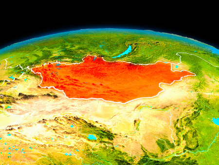 Satellite view of Mongolia highlighted in red on planet Earth with borderlines. 3D illustration.