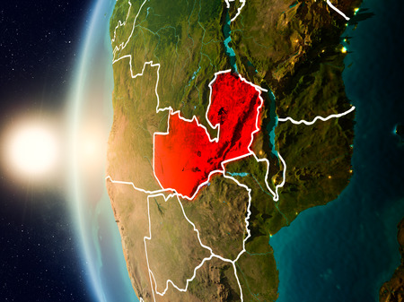 Illustration of Zambia as seen from Earth's orbit during sunset with visible country borders. 3D illustration.