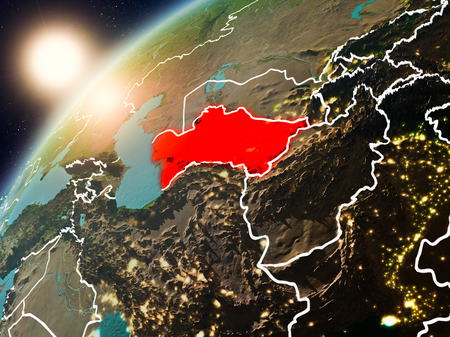 Turkmenistan during sunset highlighted in red on planet Earth with visible country borders. 3D illustration.  . Stock Photo