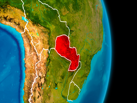 Paraguay in red on planet Earth with visible borderlines. 3D illustration.