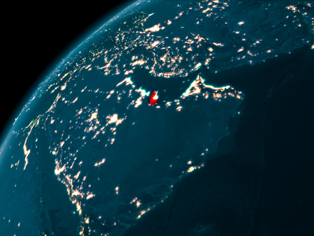 Night map of Qatar as seen from space on planet Earth. 3D illustration.