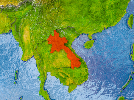 Laos in red on realistic map with embossed countries. 3D illustration.