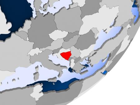 3D geef van Bosnië en Herzegovina op politieke bol met transparante oceanen terug. 3D illustratie