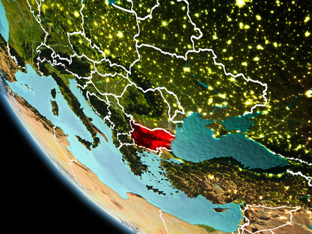 Bulgaria from orbit of planet Earth at night with highly detailed surface textures with visible border lines and city lights. 3D illustration.