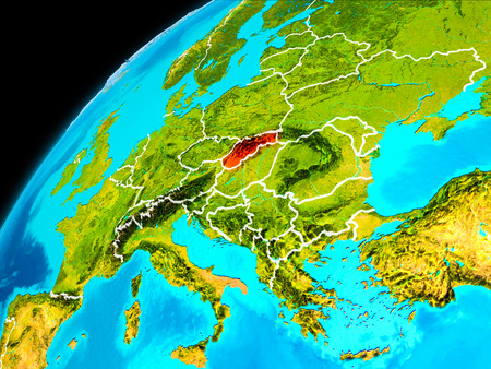 Orbit view of Slovakia highlighted in red with visible borderlines on planet Earth. 3D illustration. Stock Photo