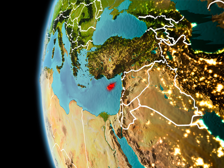 Evening over Cyprus as seen from space on planet Earth with visible border lines and city lights. 3D illustration. Stock Photo