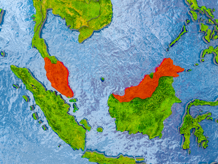 Malaysia in red on realistic map with embossed countries. 3D illustration.